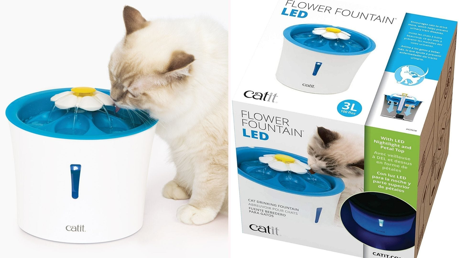 A cat drinking from the blue Catit Flower Fountain next to the box it comes in.