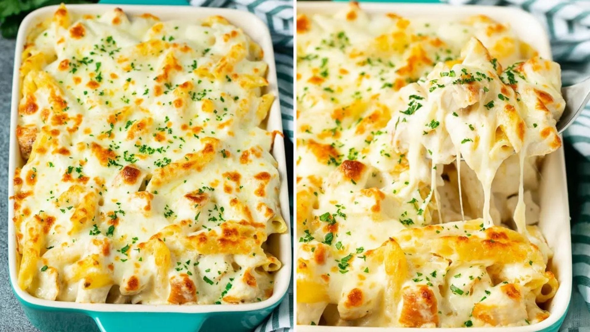 Two side by side images: The left image is of a creamy chicken alfredo baked meal in a turquoise casserole dish topped with melted cheese and parsley, and the right image is of a fork full of the meal being taken with stretched cheese melting off the sides of the utensil.