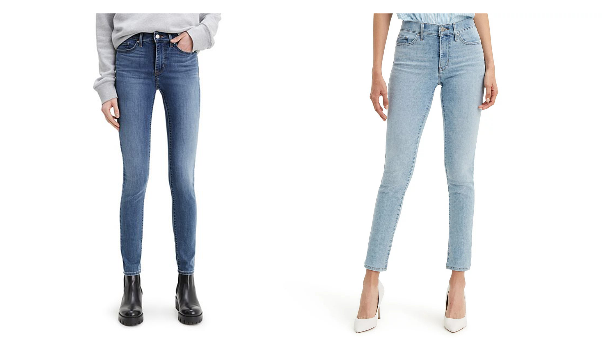 One woman wearing dark Levi's 311 jeans, and another woman wearing a pair in lighter blue denim.
