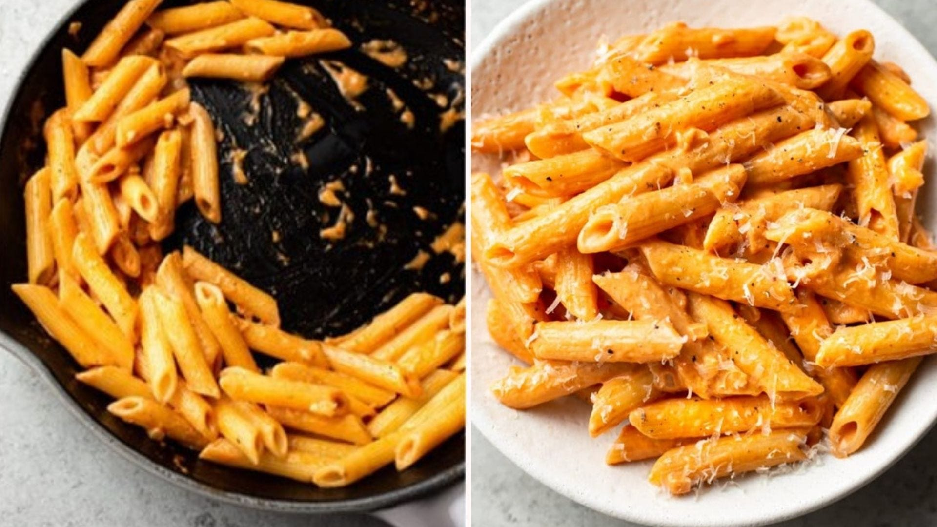 Two side by side images: the left image is penne alla vodka in a deep skillet and the right image is of the finished pasta dish, in a white bowl finished with parmesan cheese.