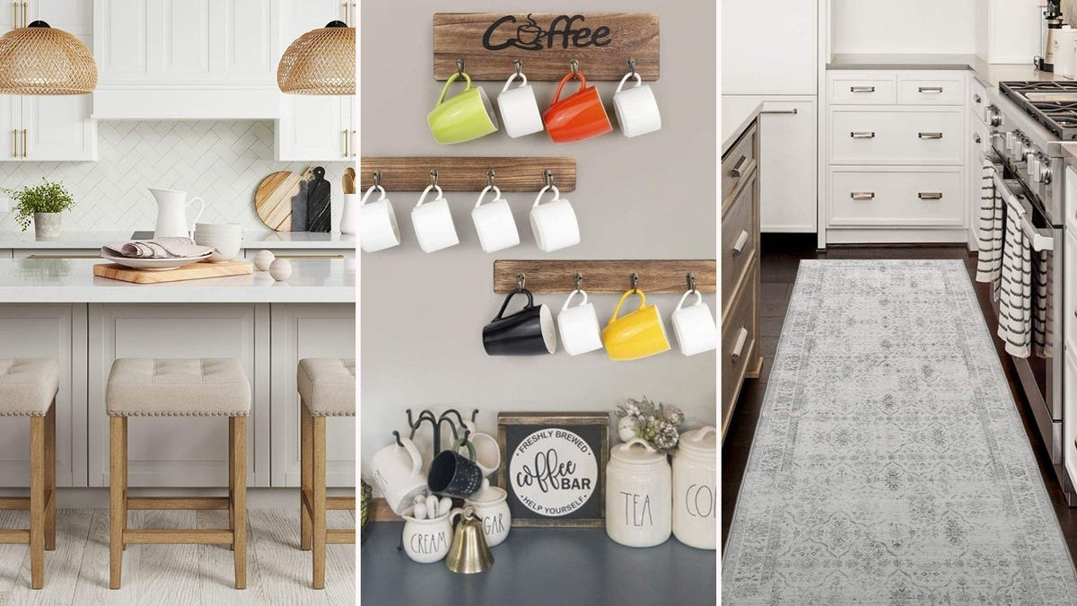Tan cushioned benches by Nathan James, wooden mug racks by Olakee, and a distressed kitchen rug by ReaLife.