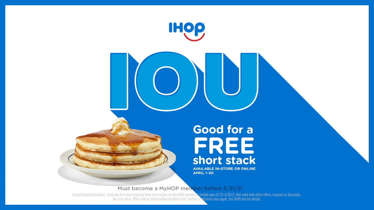 A stack of three pancakes on a plate next to the IHOP IOU ad for National Pancake Day 2021.