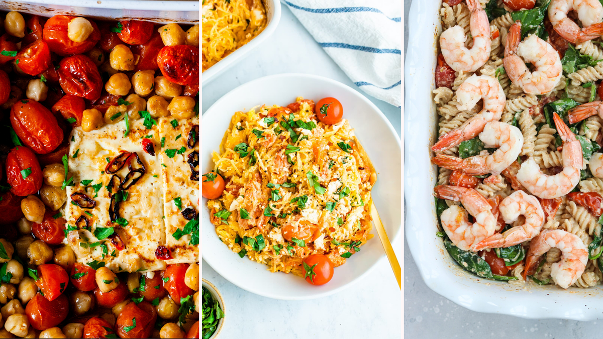 Three examples of baked feta pasta dishes.