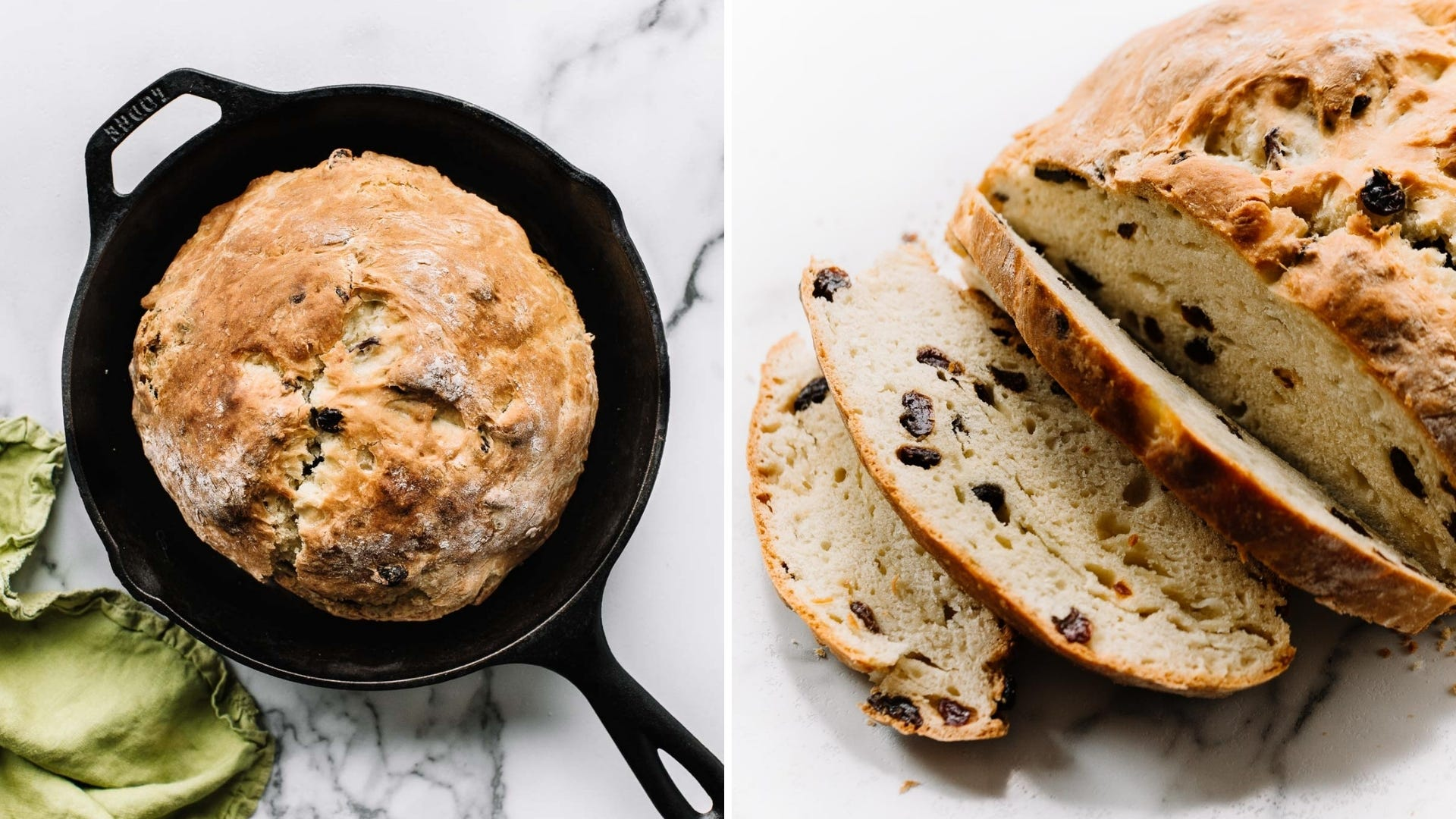 Irish soda bread in cast iron skillet, along with an example of the loaf sliced open.