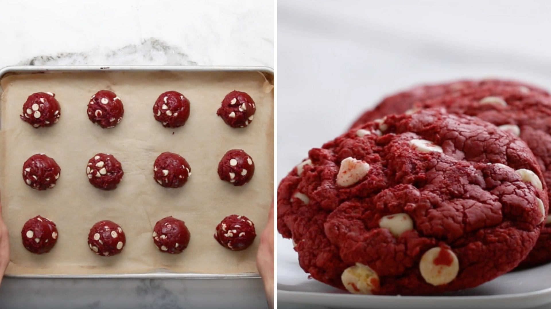 A plate of red velvet cookies next to three red velvet cookies.
