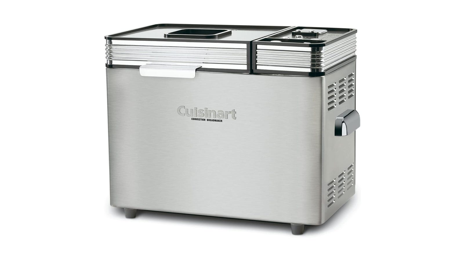 A rectangular silver bread maker viewed from the side