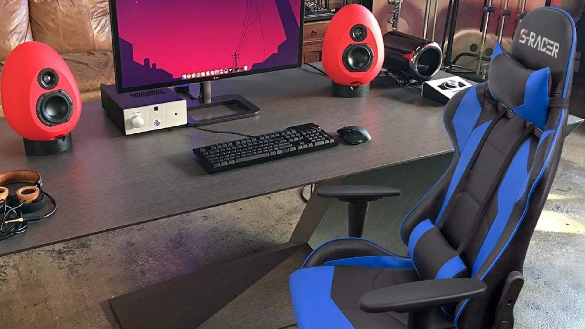 Gaming chair next to computer.