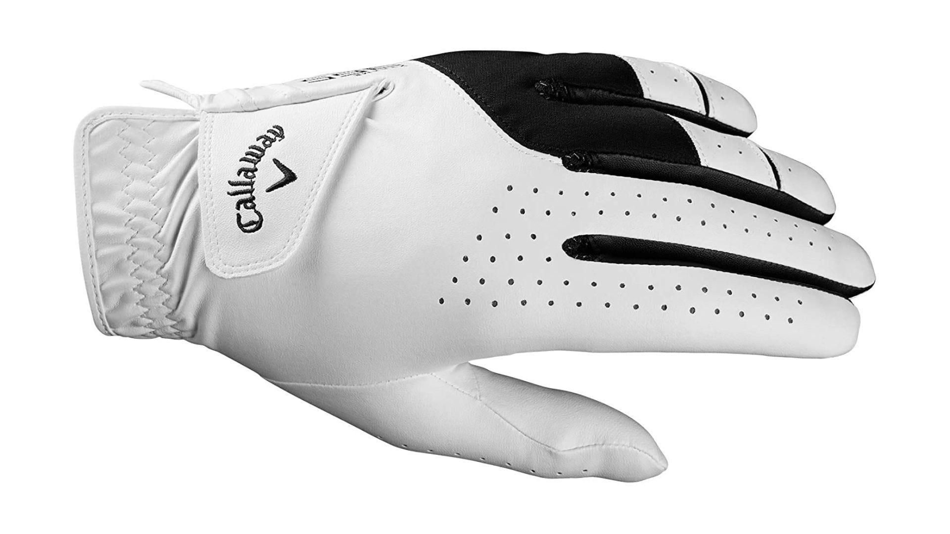 A white and black left-hand Callaway Weather Spann Premium Men's golf glove.