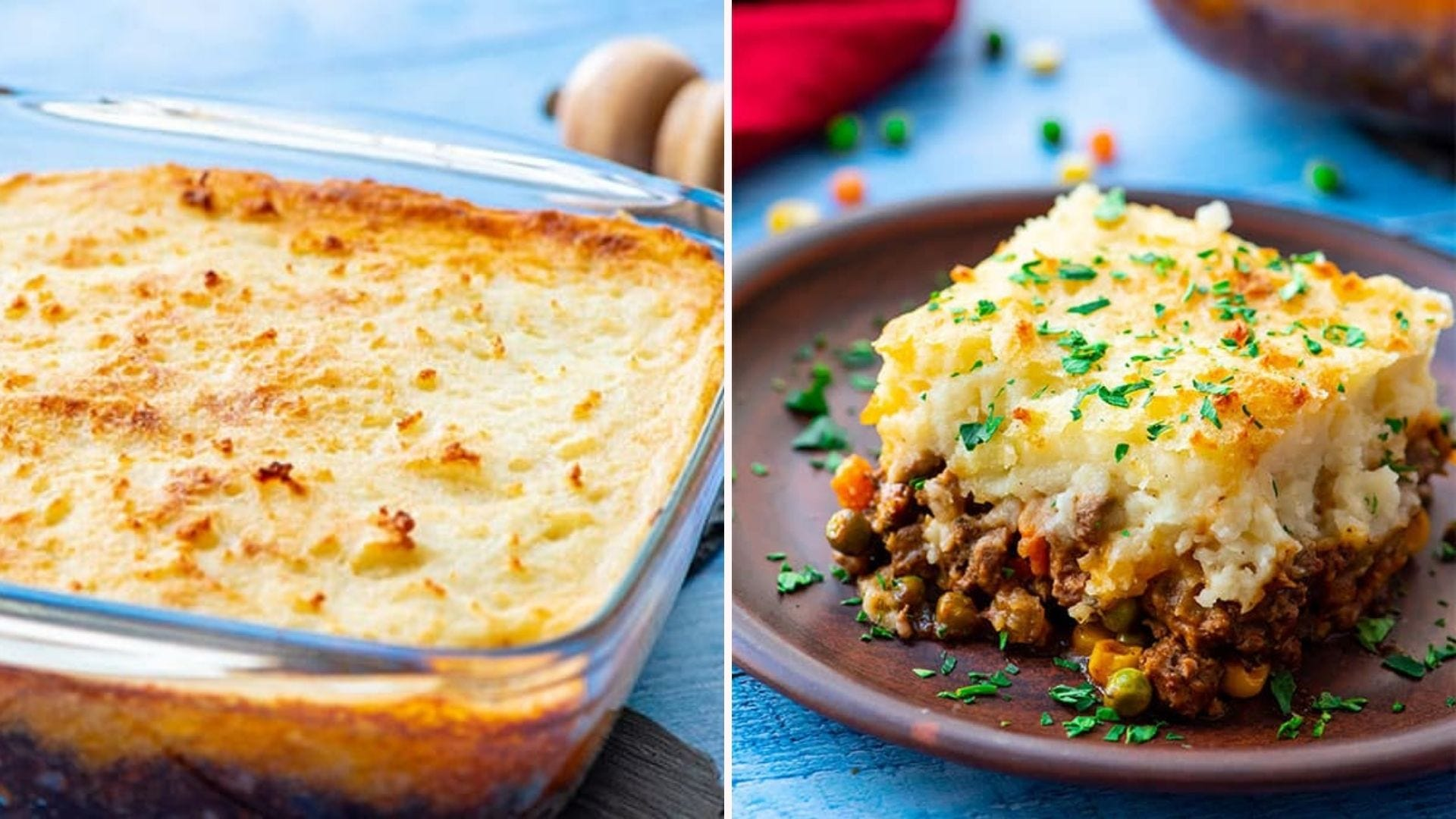 A classic shepherds pie in a casserole dish, and a square piece on a plate topped with fresh parsley.
