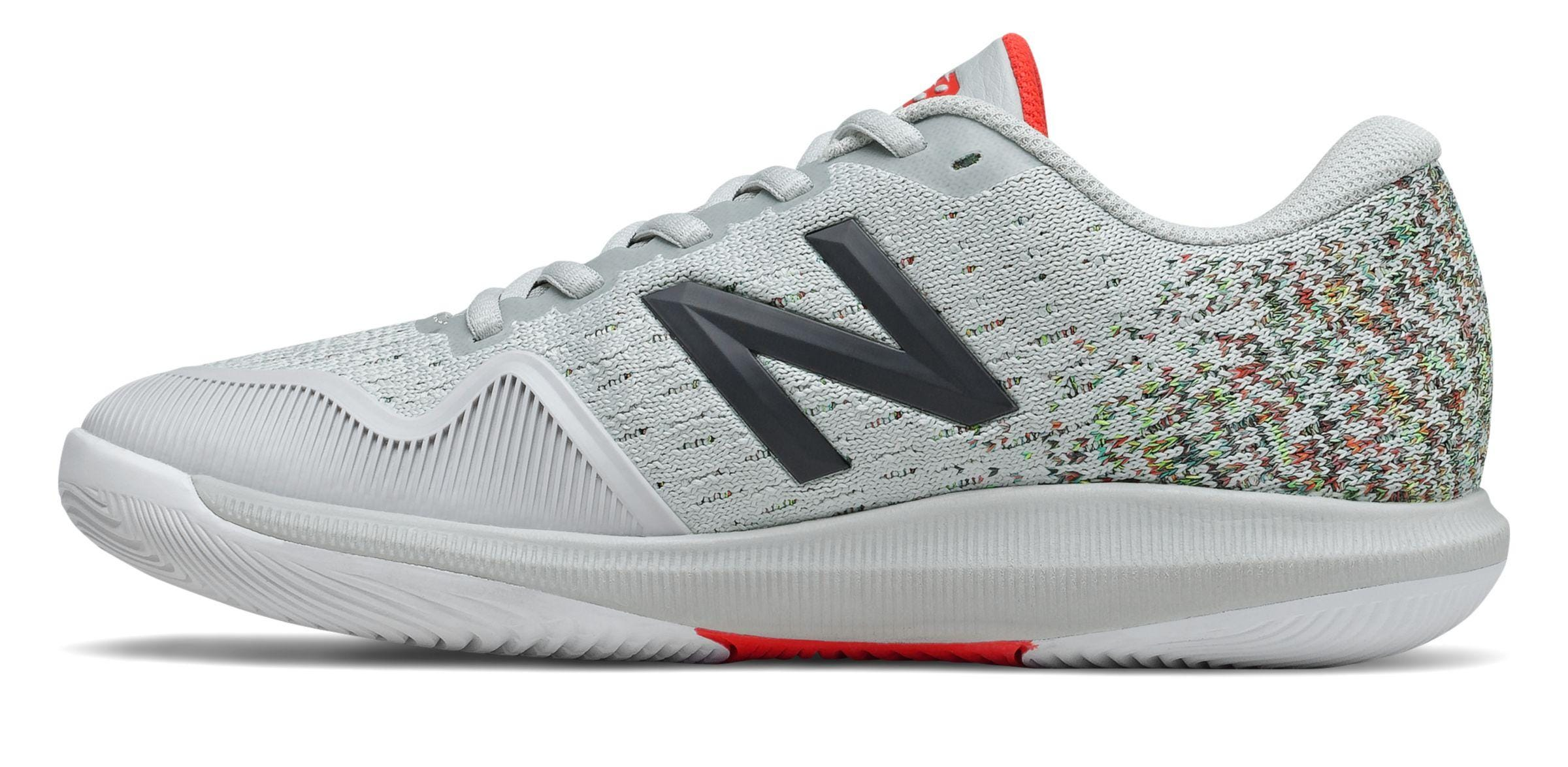 One New Balance Women's FuelCell 996 Hard Court Tennis Shoe in Gray-neon flame.