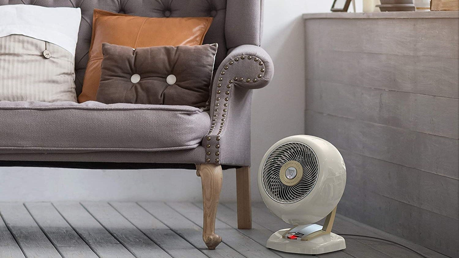 Vornado space heater in a room.