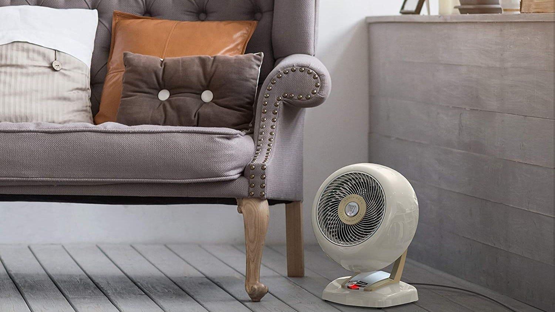 Vornado space heater in a room.