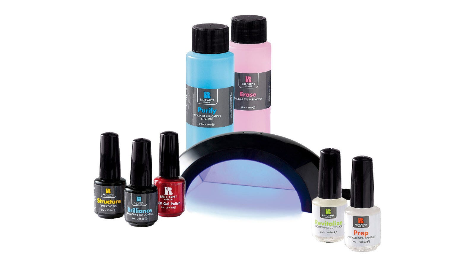 Five nail polish bottles, two cleanser bottles, and a black UV hand light