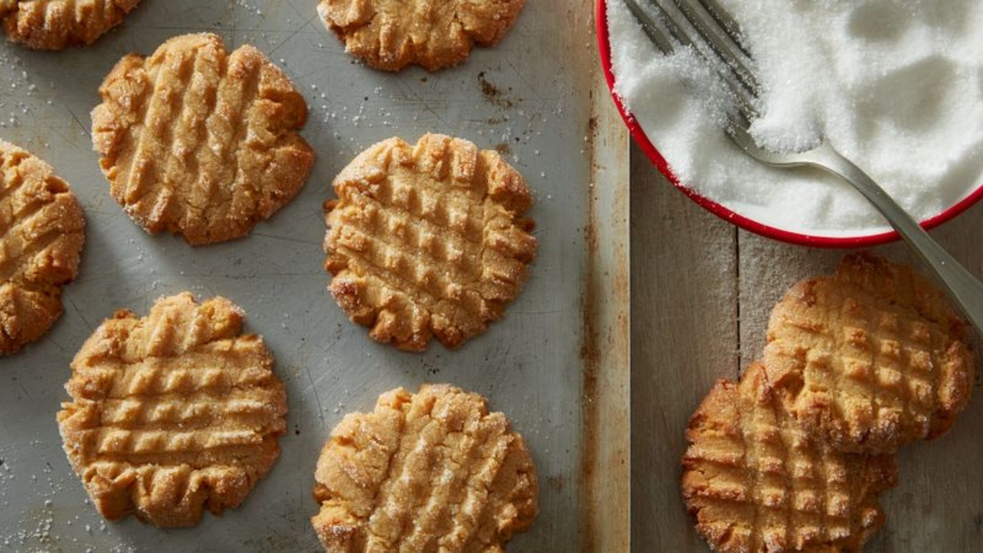 Peanut butter cookies on a tray.