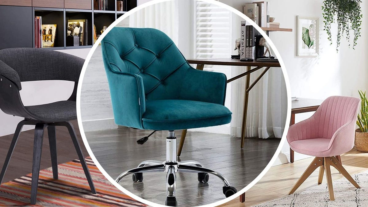Armen Living Summer Chair in Charcoal, the Goujxcy Chair in Lake Blue, and the Art Leon Mid-Century Swivel Chair in Pink New.