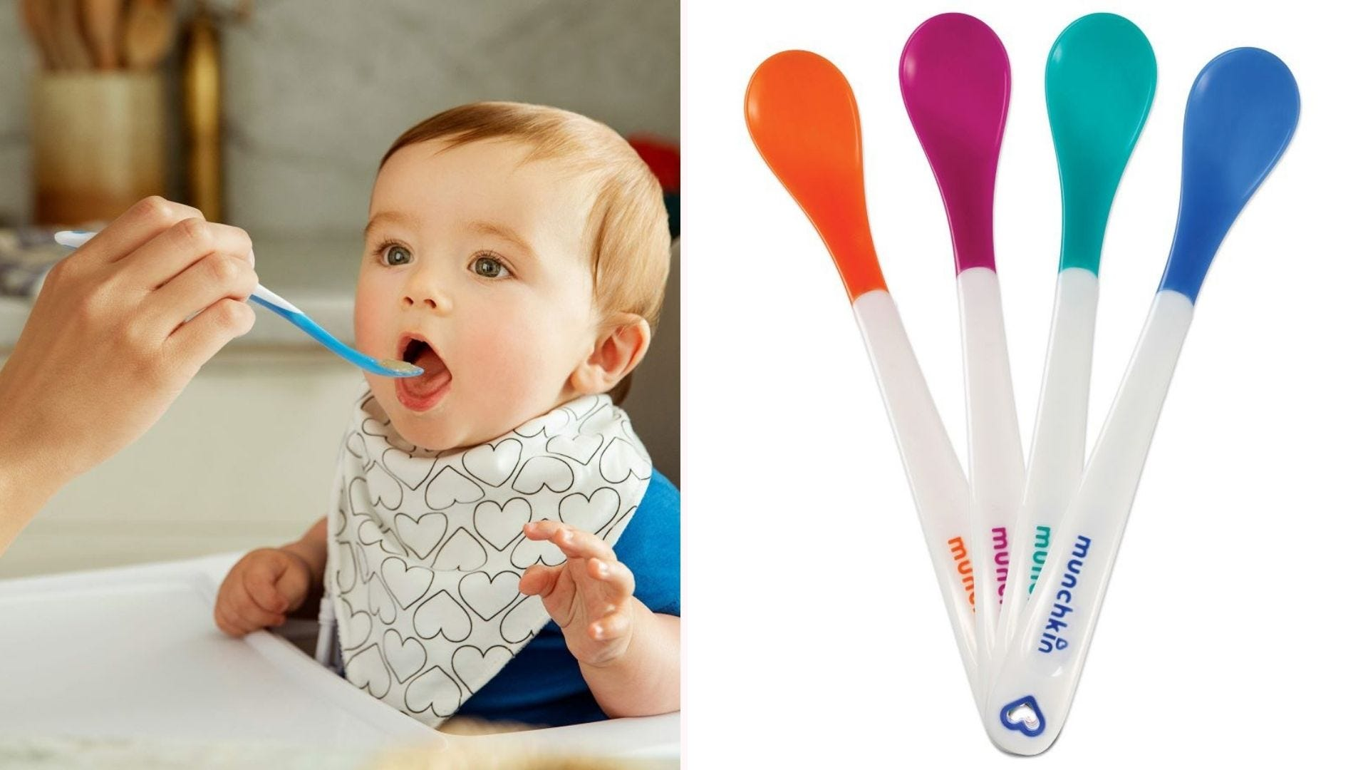 Someone feeding a baby with a blue munchkin spoon, and an image of all four colors.