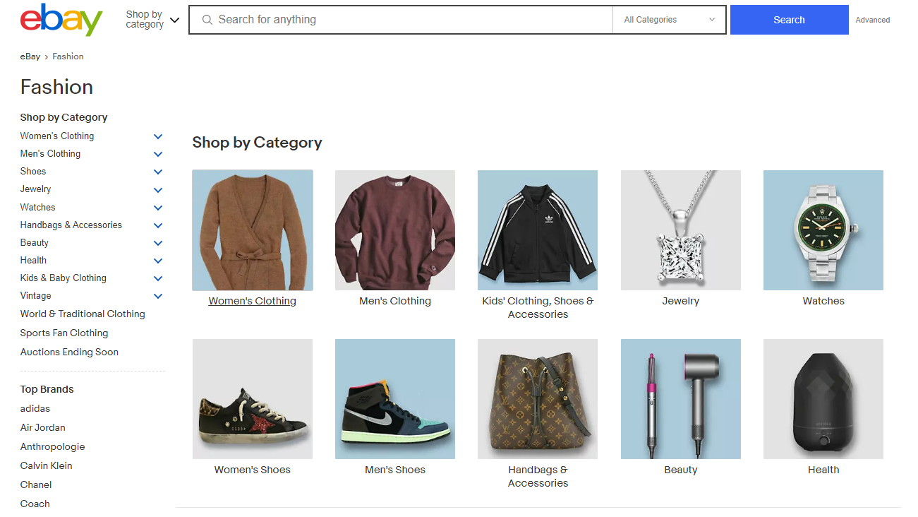 The fashion section on eBay.