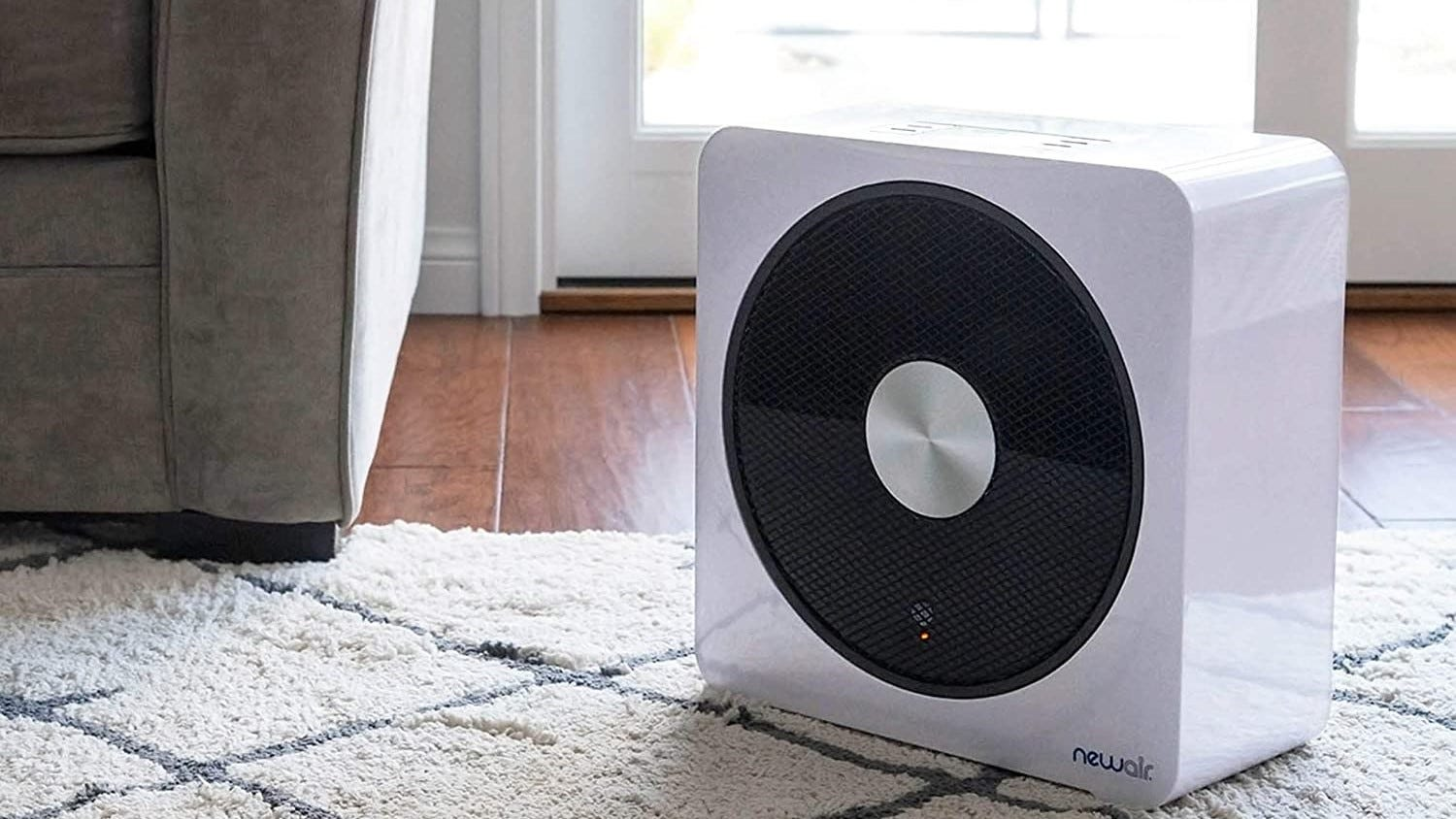 A stylish space heater with a minimal white design.