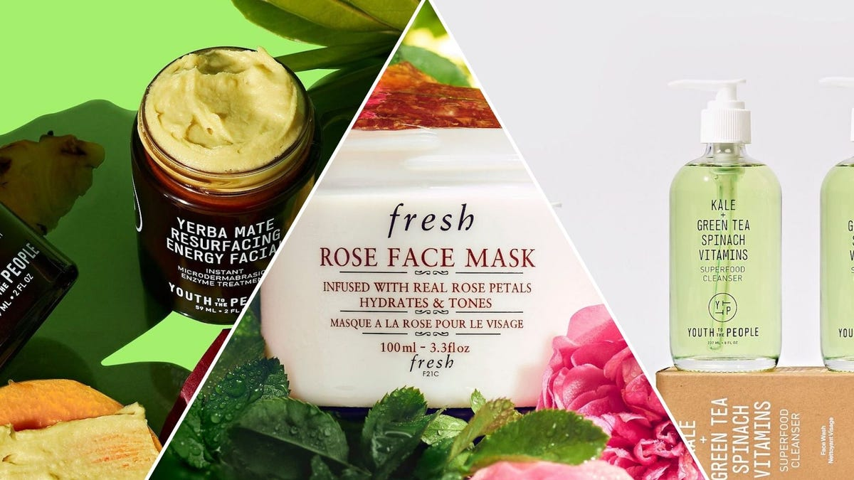A brown jar of yellow cream, a white jar with pink gel, a clear bottle of green cleanser