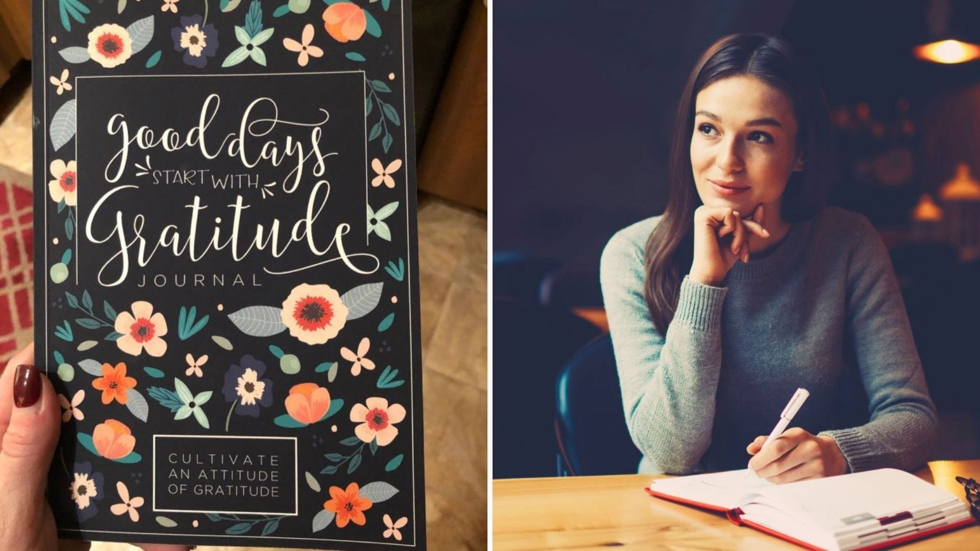 """Someone holding the """"Good Days Start with Gratitude Journal"""" and a woman writing in a journal at a pub."""