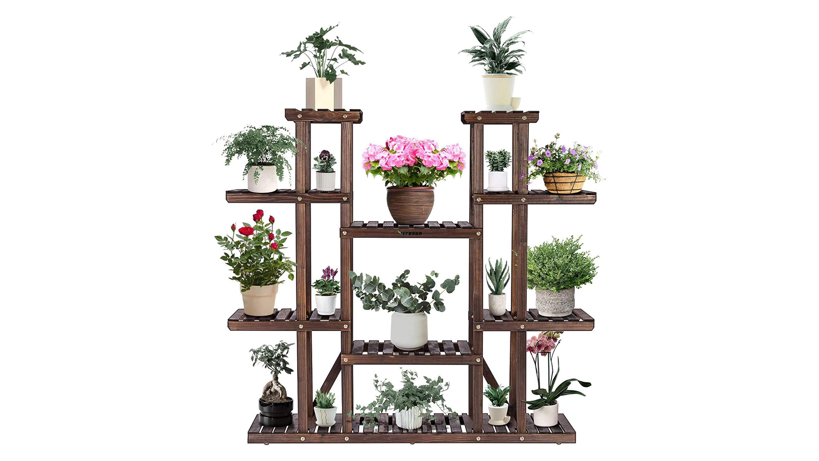 A multi-tiered wood plant stand with several plants