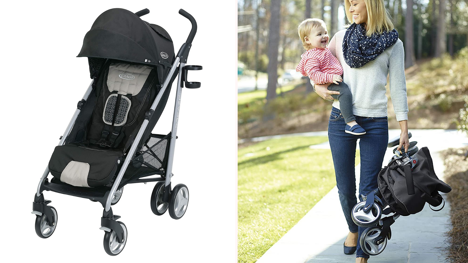 A mother carrying her baby and the Graco Breeze Clicker stroller folded up.