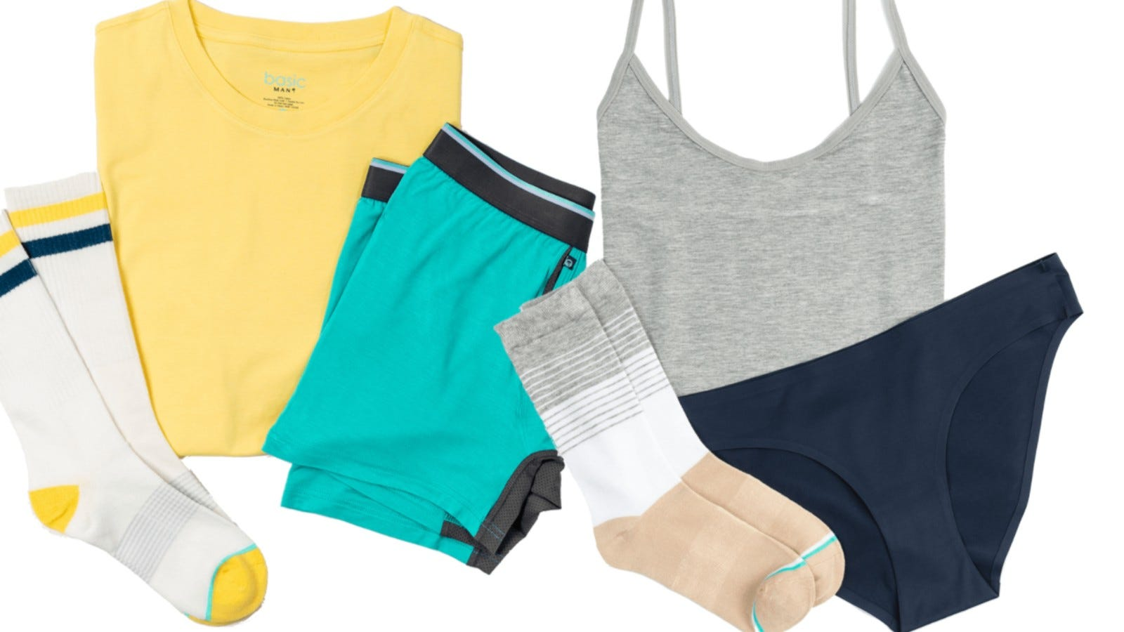 T-shirts, underwear, and socks.
