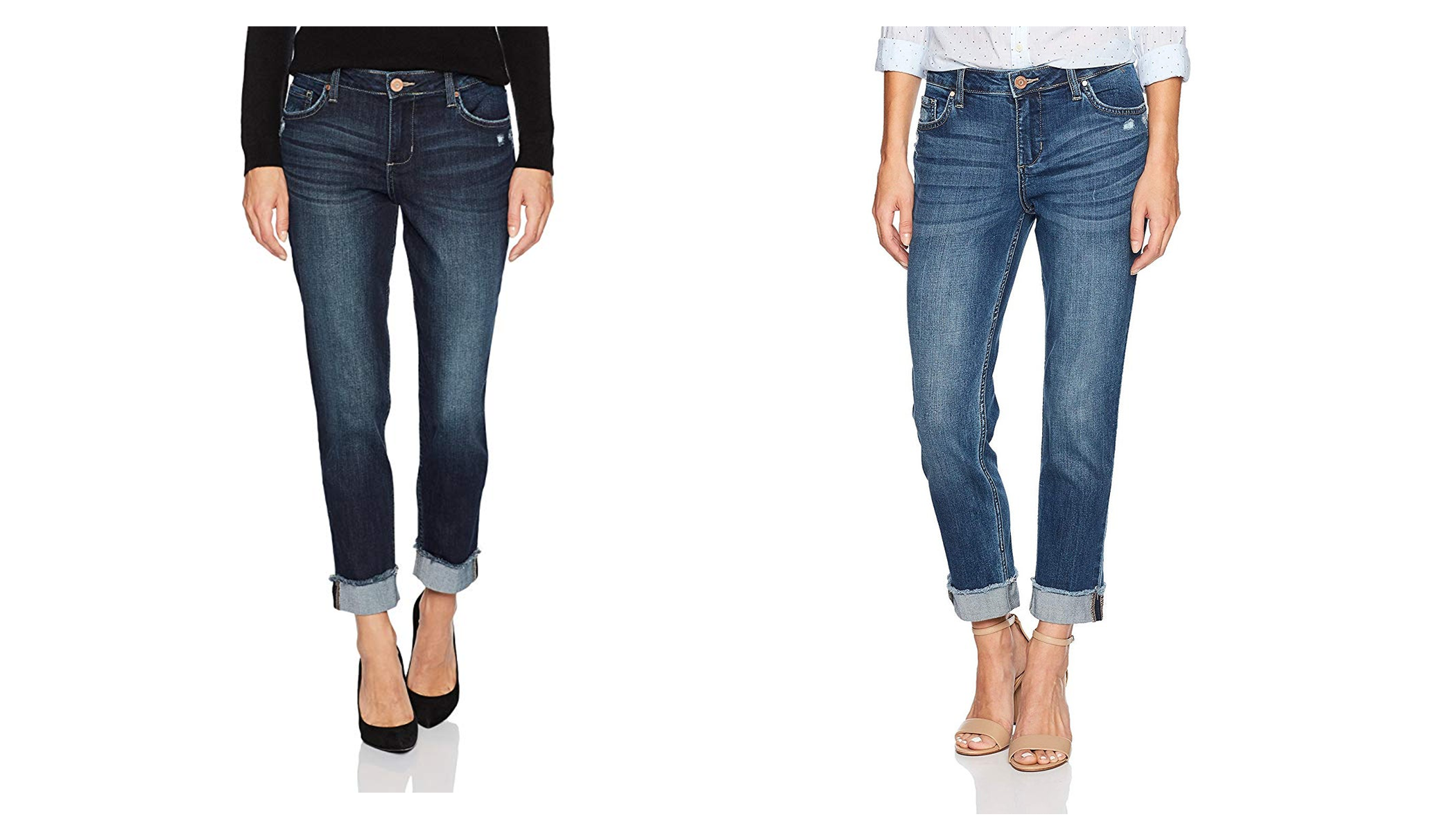 A woman wearing a dark pair of the Fringe Cuff Boyfriend Jeans, and another woman wearing a pair in lighter blue.