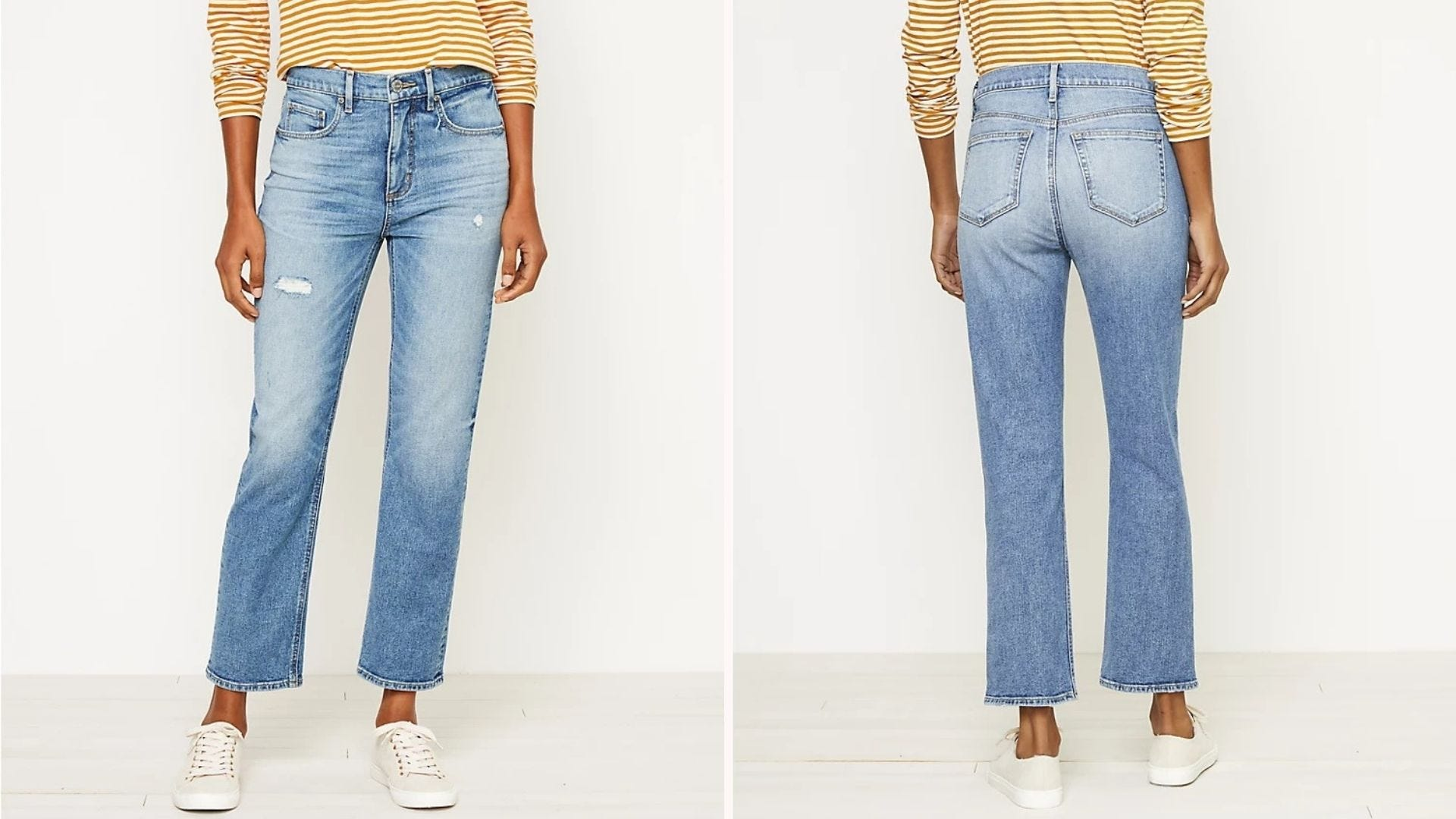Front and back view of a woman wearing the High-Rise Straight Crop Jeans.