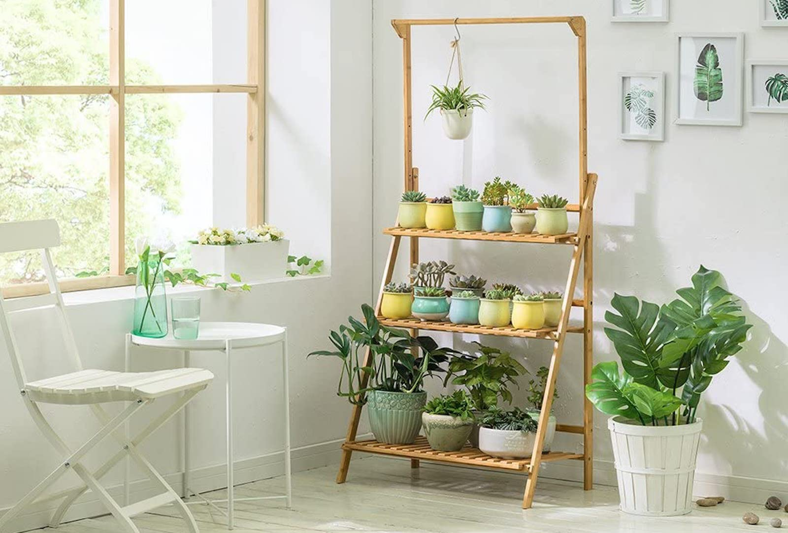 A sunny room with a three-tier wood plant stand, full of colorful pots of plants