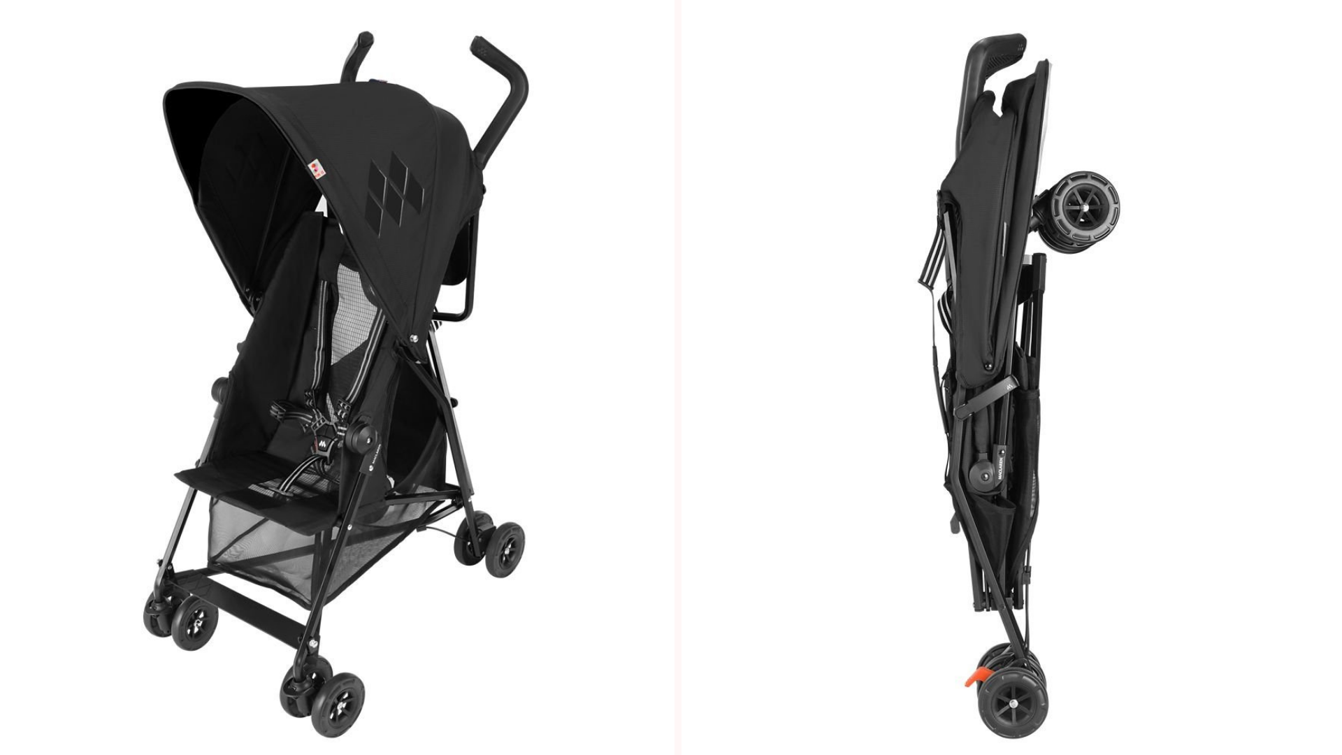 The Maclaren umbrella stroller in the open and folded positions showing how slim it is.