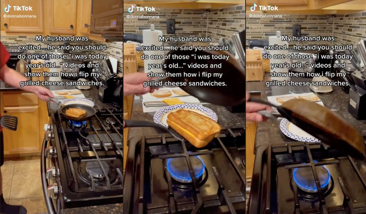 A man shows a hack for flipping grilled cheese where he places a hot skillet on the top.