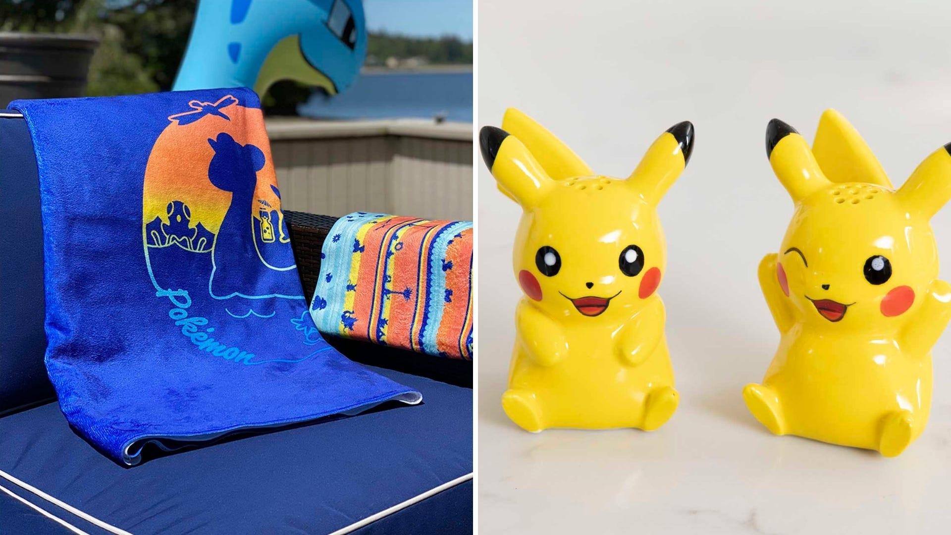 A blue beach towel and a Pikachu salt and pepper shaker set.