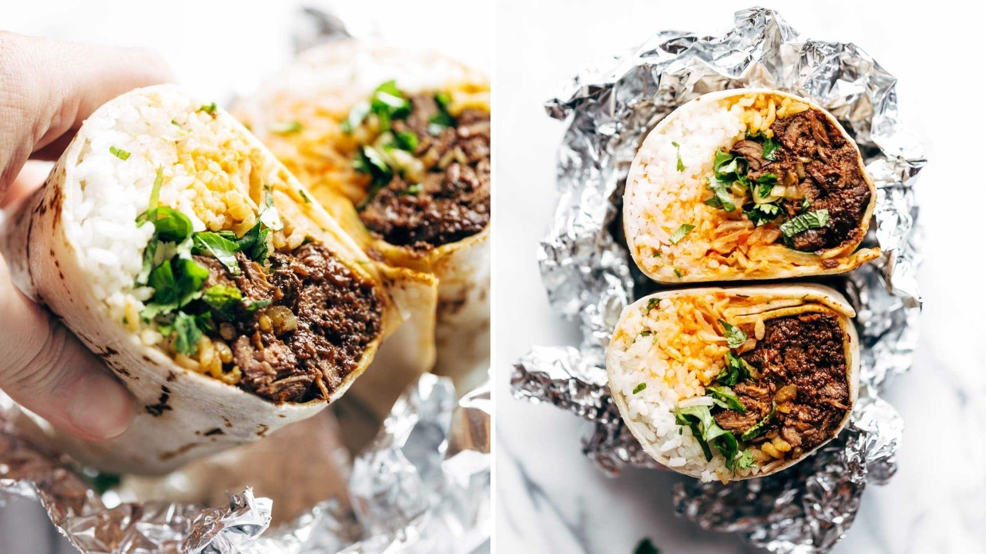 Korean barbecue burrito with meat, rice, and cilantro inside