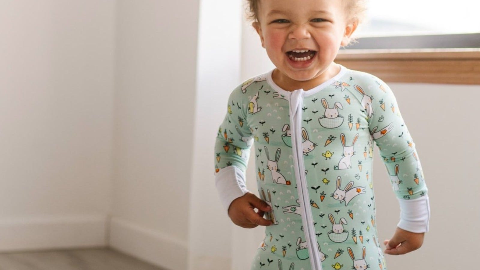 baby in mint easter pajamas