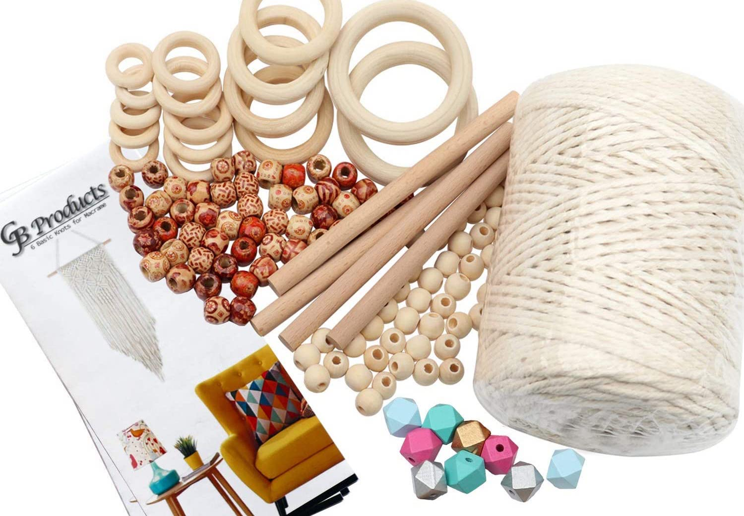 A macrame kit with a skein of ivory cord, several wood rings, different types of beads, and an instruction guide