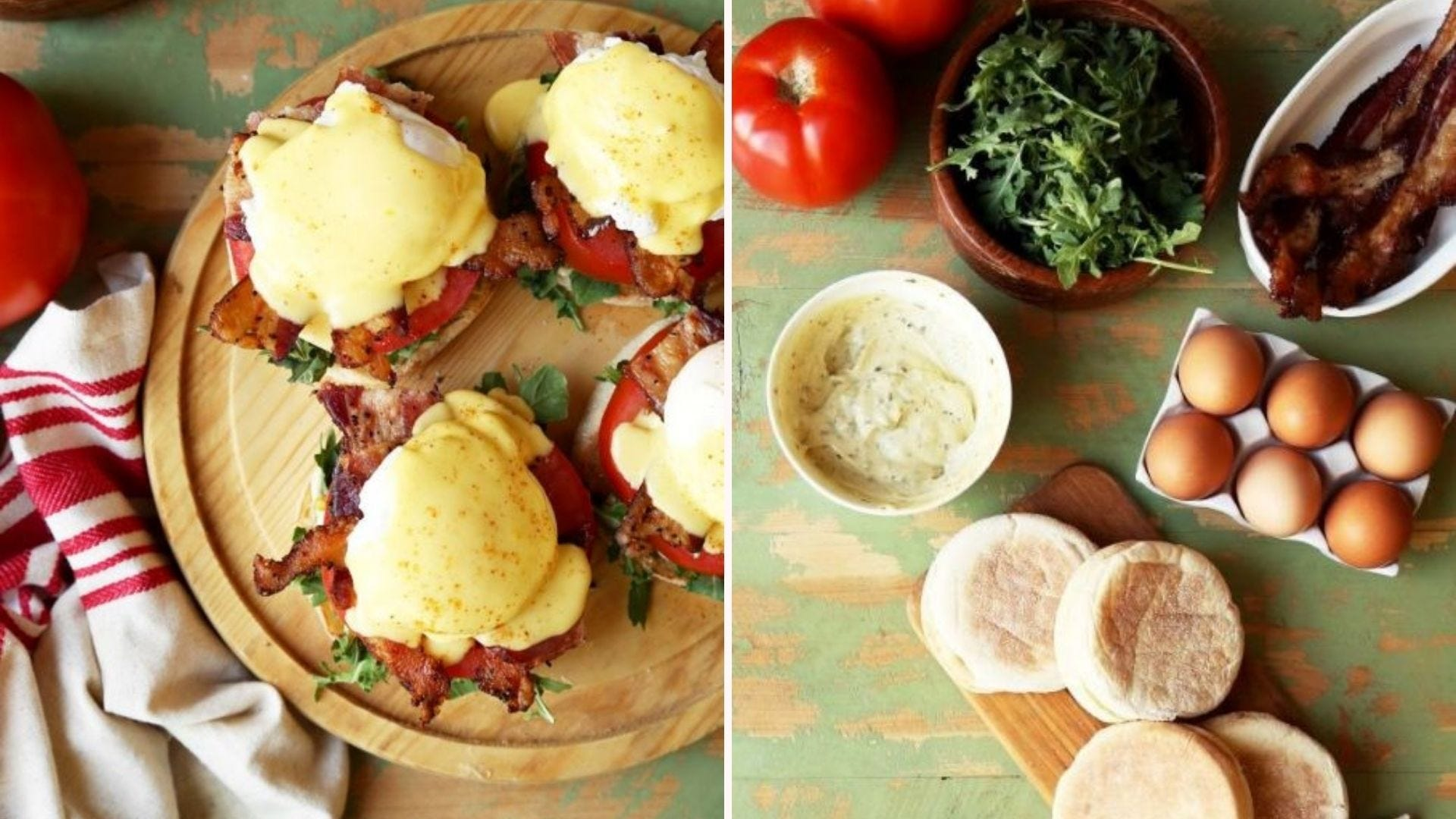 Four BLT eggs Benedict on a serving platter, and some of the ingredients on a counter.