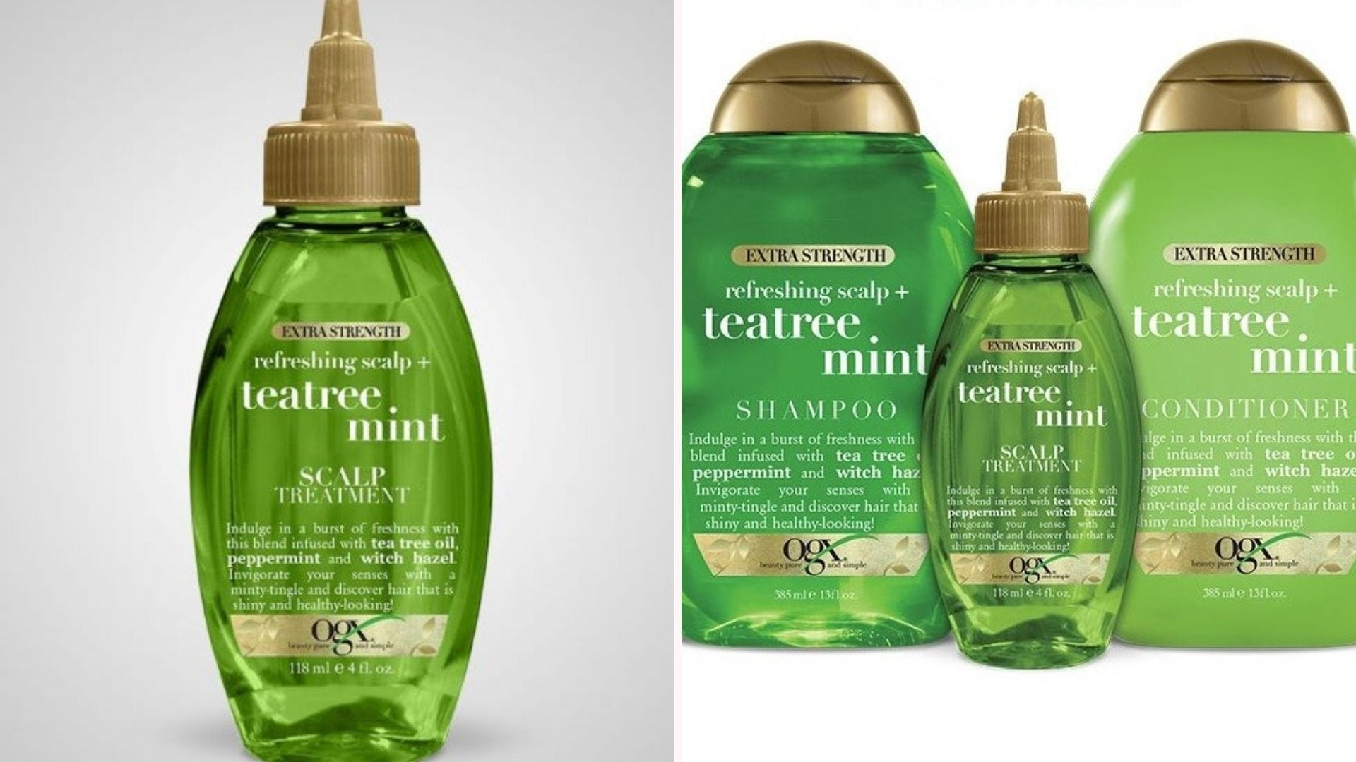 A bottle of OGX Extra Strength Refreshing Scalp Treatment, and the Shampoo and Conditioner.