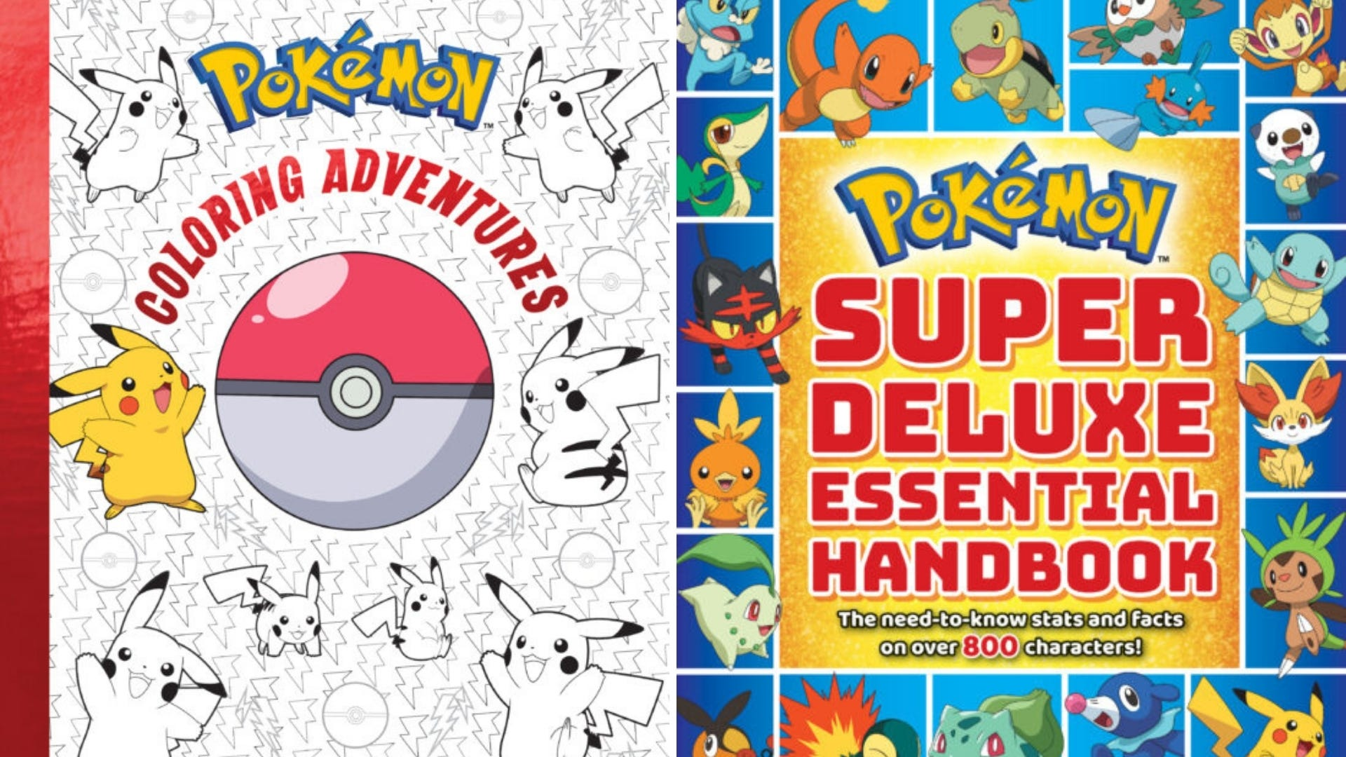 The cover of a Pokemon coloring book and the cover of Pokemon Super Deluxe Essential Handbook.