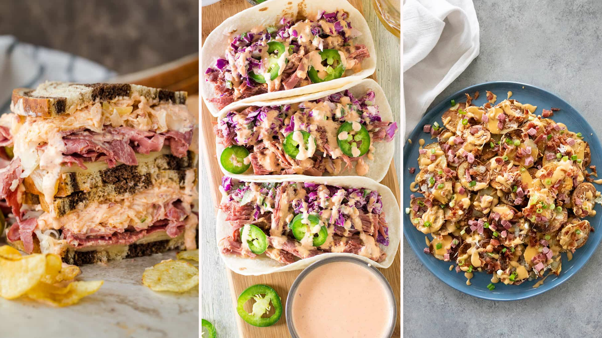 Three side by side images: The left image is of a stacked Reuben sandwich by Natasha's Kitchen, The middle image is of three corned beef tacos by Chili Pepper Madness, and the right image is of a plate of Irish Nachos by The Salty Marshmallow