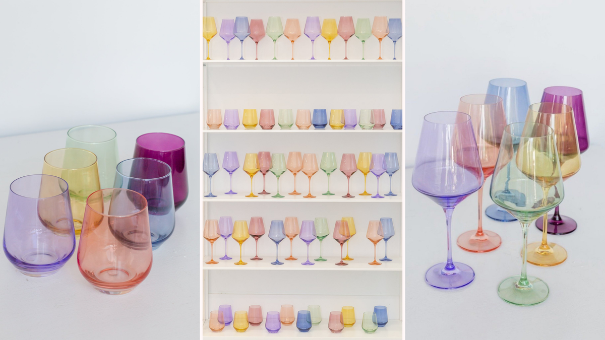 Sets of stemless and stemmed wine glasses in pastel shades.