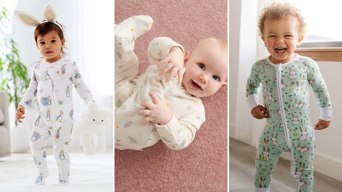 babys In easter pajamas