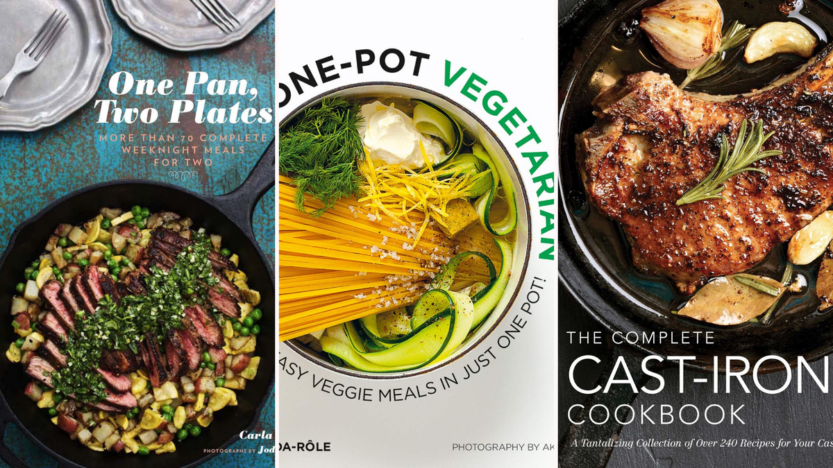 """The covers of """"One Pan, Two Plates,"""" """"One-Pot Vegetarian,"""" and """"The Complete Cast-Iron Cookbook."""""""