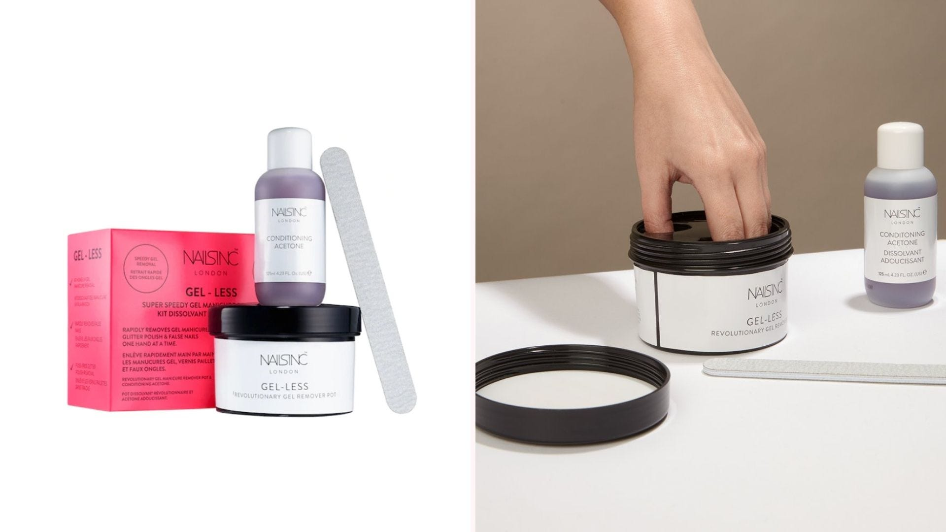 A gel nail polish removal kit, with a woman demonstrating how to use it.