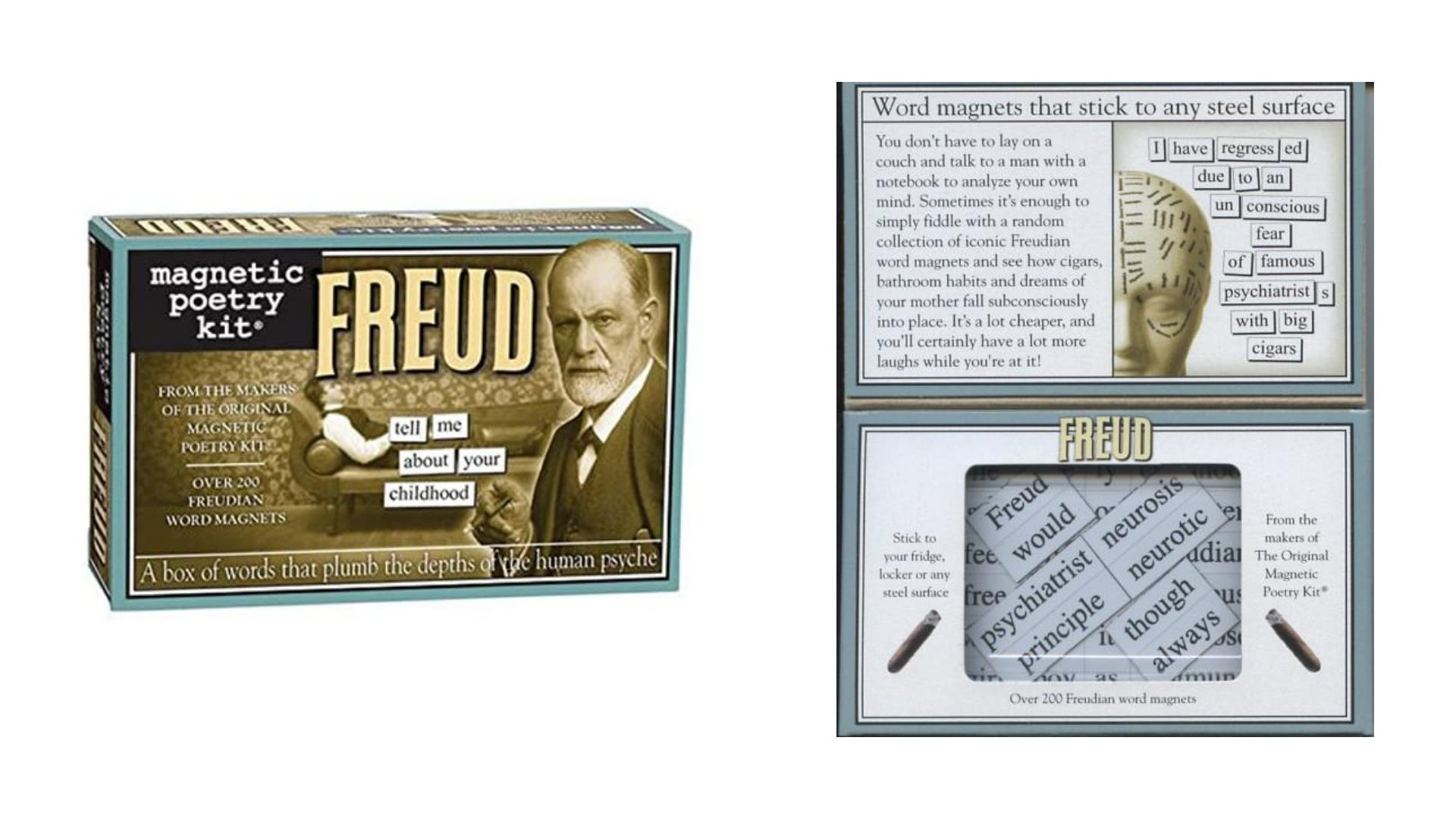 A front and inside view of the Freud Magnetic Poetry kit