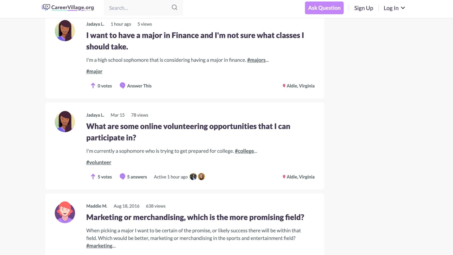 Questions on the CareerVillage forum.