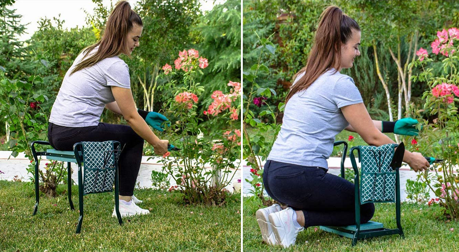 Two images, one of a woman sitting on a portable bench seat, one of her kneeling on a padded kneeler