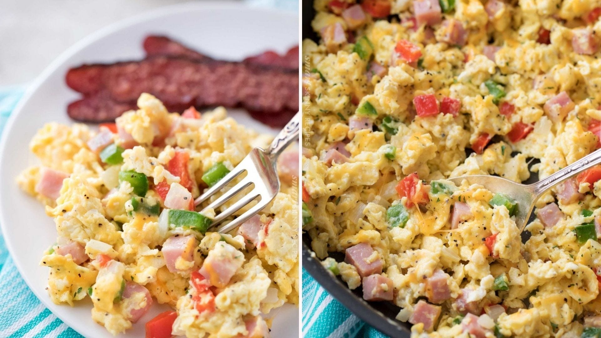 Two images: The left image is of Denver scrambled eggs with a side of bacon and the right image is of a skillet filled with Denver eggs.