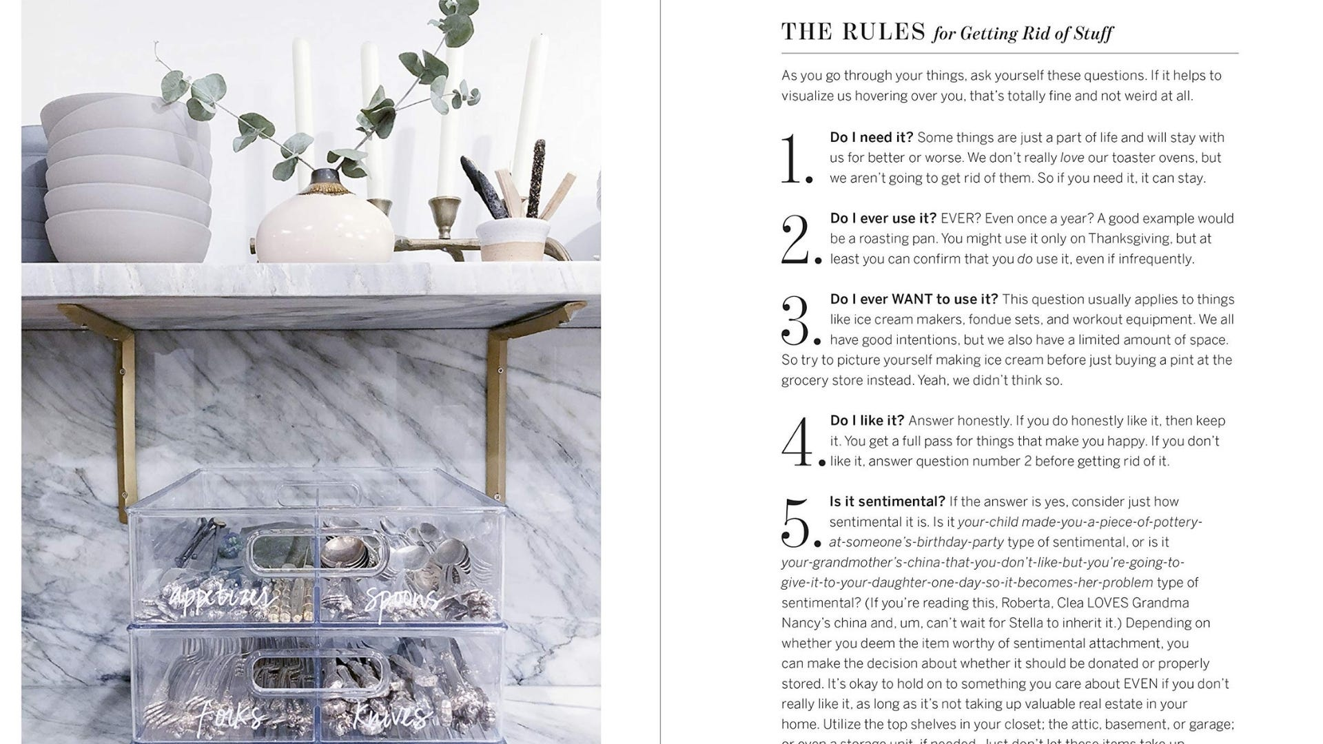 """A two-page spread from """"The Home Edit: A Guide to Organizing and Realizing Your House Goals."""""""