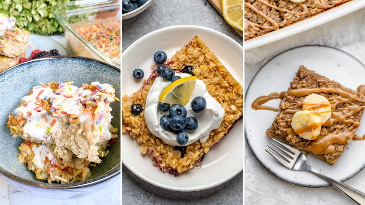 Three photos of baked oatmeal dishes